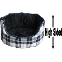 """Dog Bed Thick Black Chequered Material Fleece 22"""""""
