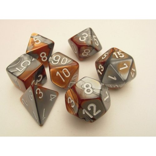 Chessex Gemini Polydice Set - Copper-Steel/white