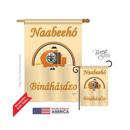 Breeze Decor 08173 Historic Navajo Nation 2-Sided Vertical Impression House Flag - 28 x 40 in.