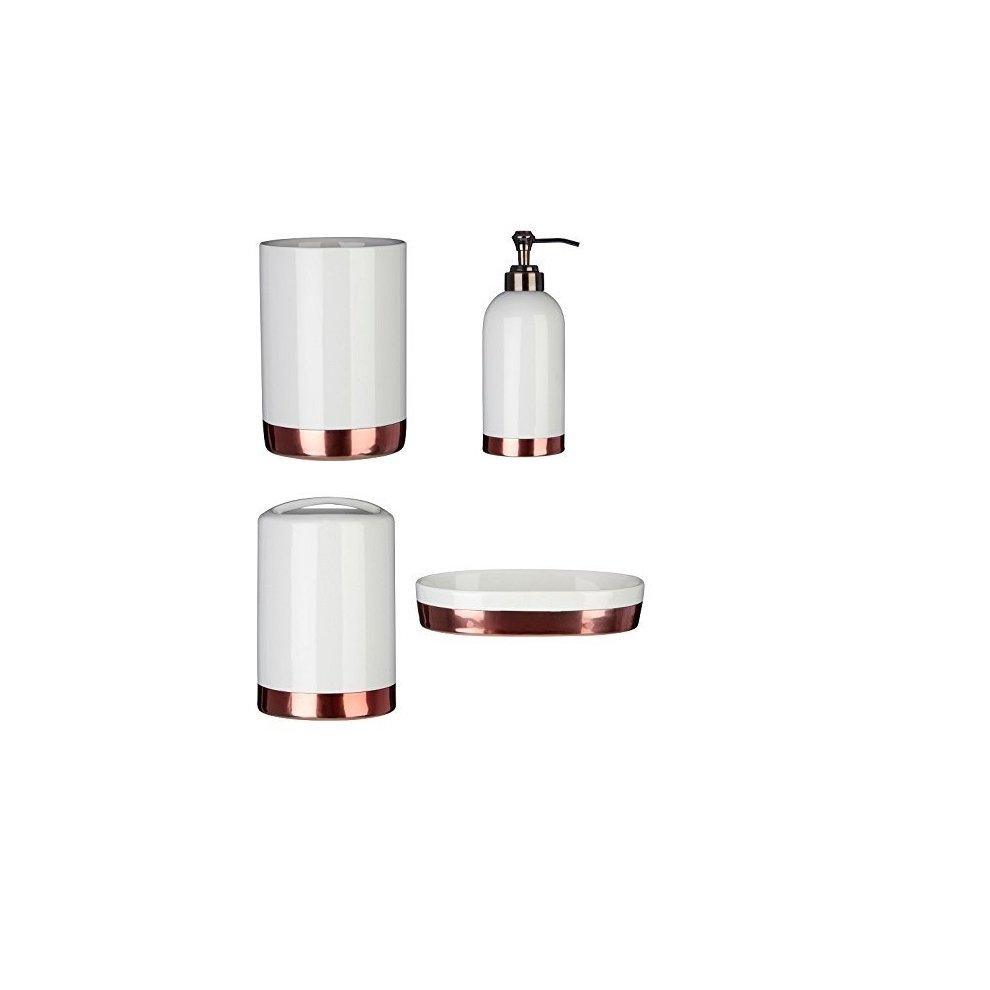 Delta set of 4 bathroom accessories set white on onbuy for Bathroom sets and accessories