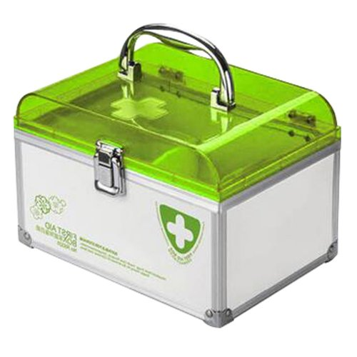 Portable Lock Handheld Family Medicine Cabinet First Aid Kit Storage Box Green