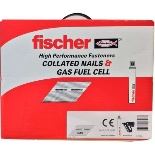 Fischer 75mm Collated Ring Shank Nails & 2 Gas Fuel Cells Galv (Box of 2200)