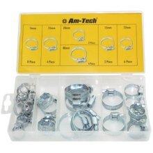 Am-tech Hose Clamp Assortment (26 Pieces) - Set Pipe Clips Amtech 26pc Assorted -  hose clamp set pipe clips amtech 26pc assorted 40mm case