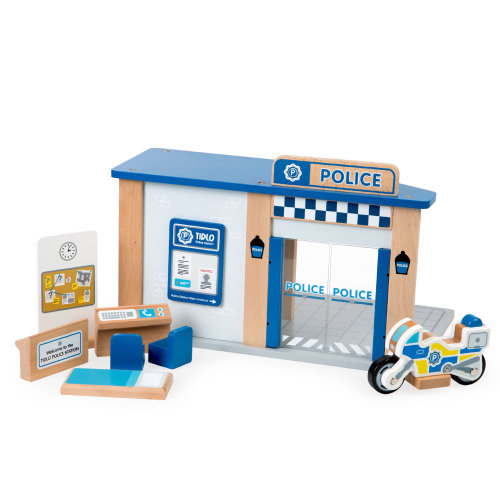 Tidlo Wooden Police Station with Accessories