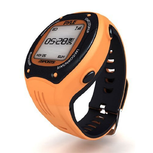 Pyle GPS Sports Watch and Workout Trainer - For Tracking Running, Biking, Hiking Outdoors - Displays Pace, Speed and Distance (Orange)