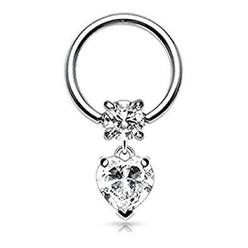 1.2mm x 10mm Clear Heart Shaped Crystal Dangle Surgical Steel CBR Captive Bead Ring Universal Piercing Body Jewellery