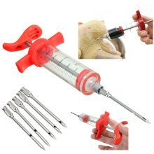 BBQ Turkey Chicken Marinade Injector Flavor Syringe Cook Meat Poultry + 5 Needles