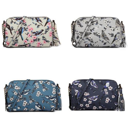 Miss Lulu Canvas Bird Print Tassel Shoulder Bag
