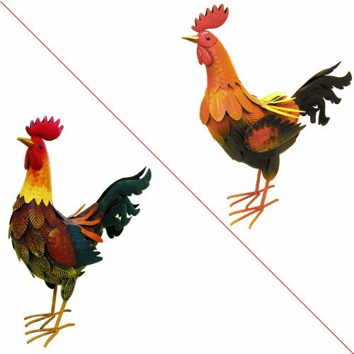 Rolson 84006 Large Cockerel Garden Ornament, Metal, 42x18.5x53.5 cm