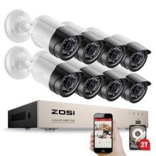 ZOSI 8 Channel 1080P CCTV Camera Systems with 2TB Hard Drive 8x 2.0MP (1920*1080P) Outdoor Security Cameras 1080P 4-IN-1 DVR For CCTV System