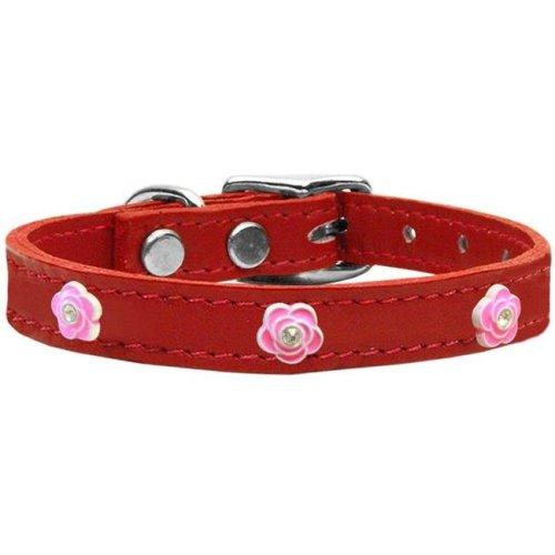 Mirage Pet 83-71 Rd24 Bright Pink Rose Widget Genuine Leather Dog Collar, Red - Size 24