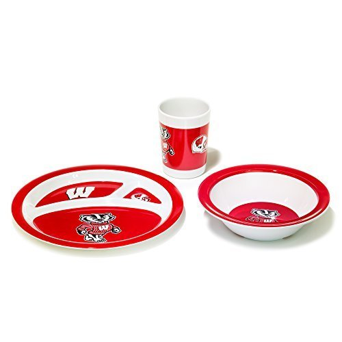 NCAA Wisconsin Badgers Kids Dish Set (3-Piece), One Size, Team Color