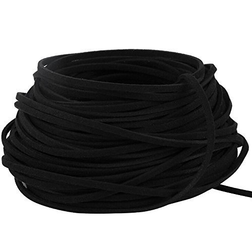 BeadsTreasure Black Suede Cord Lace Leather Cord For Jewelry Making 3x1 5 mm 20 Feet