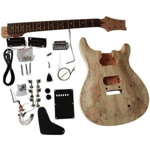 Mahogany body with Spalted Maple Veneer Top Electric Guitar DIY Kit GD830  SET-IN