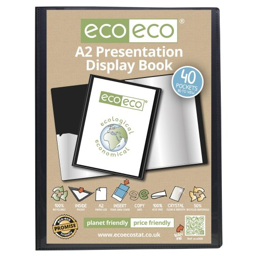 1 x A2 Recycled 40 Pocket(80 Views) Presentation Display Book - Black