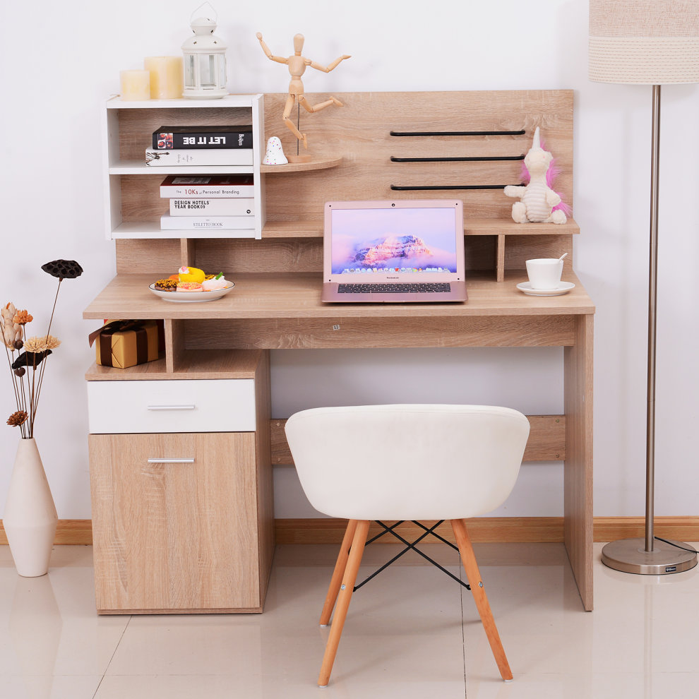Vinsetto Computer Writing Desk Storage Shelves Home Office Two Tone