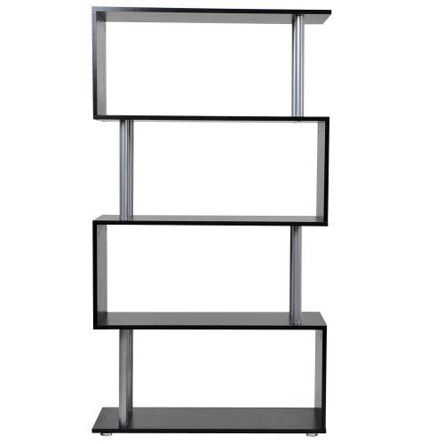 Homcom 4-Tier Wood Bookcase | Black Wood Bookcase