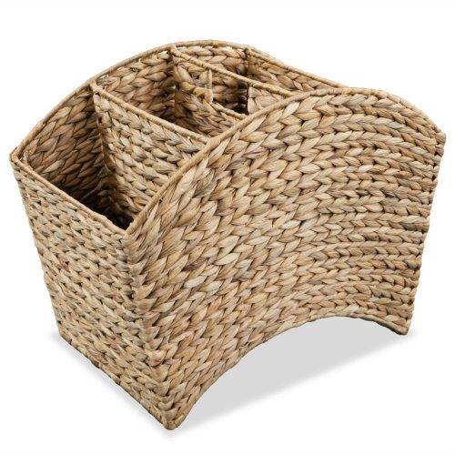 vidaXL Magazine Holder 42x25x33cm Water Hyacinth Curved Storage Rack Basket