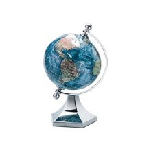 """KALIFANO 3"""" Gemstone Globe with Marine Blue Opalite Ocean with Bright Silver Contempo Stand"""