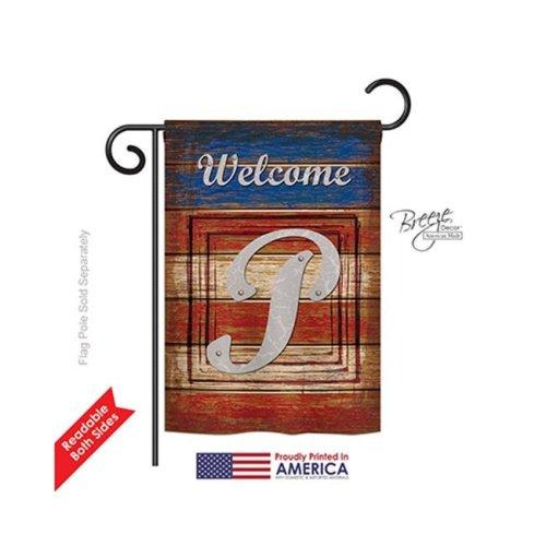 Breeze Decor 80120 Patriotic P Monogram 2-Sided Impression Garden Flag - 13 x 18.5 in.