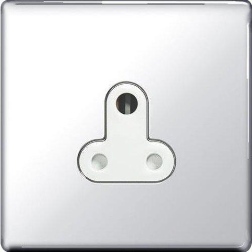 BG-Nexus-Flat-Plate Screwless Flat Plate 5A Single Round Pin Socket,Un-switched,Polished Chrome Finish,White Inserts