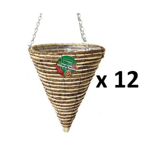 12 X Kingfisher 30 cm Rope Cone Garden Plant Lined Basket 40 cm Hanging Chain