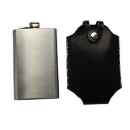 10 oz Hip Flask with Leather Leather Cover Portable Wine Bottle