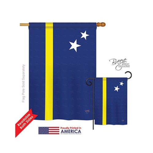 Breeze Decor 08343 Curacao 2-Sided Vertical Impression House Flag - 28 x 40 in.