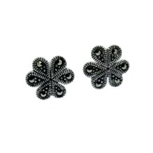 Marcasite Earrings Flower Design - Sterling Silver with Marcasite Inlay