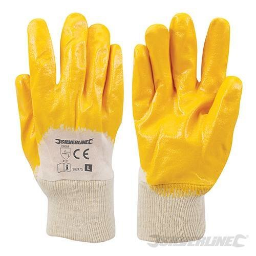 Silverline Open Back Interlock Nitrile Gloves Large
