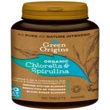 Green Origins Organic Chlorella & Spirulina 500mg 180 Tablets