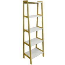 LEAN - Slimline Ladder 5 Tier Tall Freestanding Storage Shelves - White
