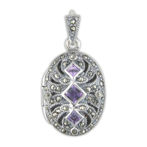 Childrens Sterling Silver Amethyst & Marcasite Fancy Oval Locket On A Curb Necklace