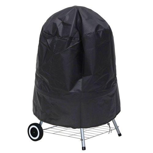 Barbecue Cover, Ankier Waterproof Polyester Round BBQ Grill Cover with Drawstring Cord Large 30 Inch (Black)