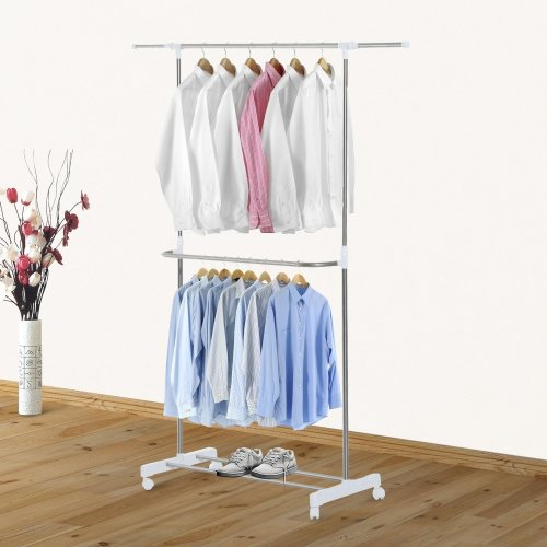 Homcom Stainless Steel 2-Tier Adjustable Clothes Rail