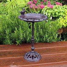 Natures Market BFCAST1 Cast Iron Standing Garden Bird Bath Transparent