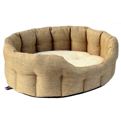 Premium Oval Drop Front Softee Bed Basketweave Beige Size 5 76x64x24cm