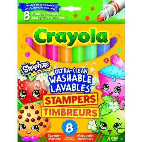 Childrens Kids Shopkins 8 x Crayola Stamper Markers Felt Tip Pens Washable