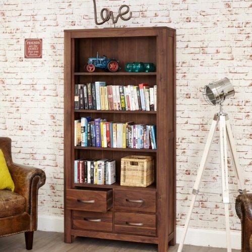 Mayan Walnut Furniture Large 4 Drawer Bookcase