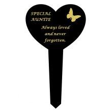 Auntie Black Slim Plastic Heart Memorial Grave Marker Stake