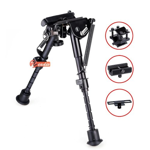 zeadio 6-9 inches Tactical Extendable Bipod with Sling Mount and 3 Adapters