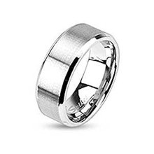 Brushed Steel Centered Stainless Steel Flat Band Ring