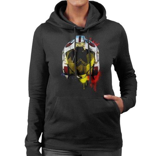 Original Stormtrooper Rebel Pilot Helmet Paint Splatter Women's Hooded Sweatshirt