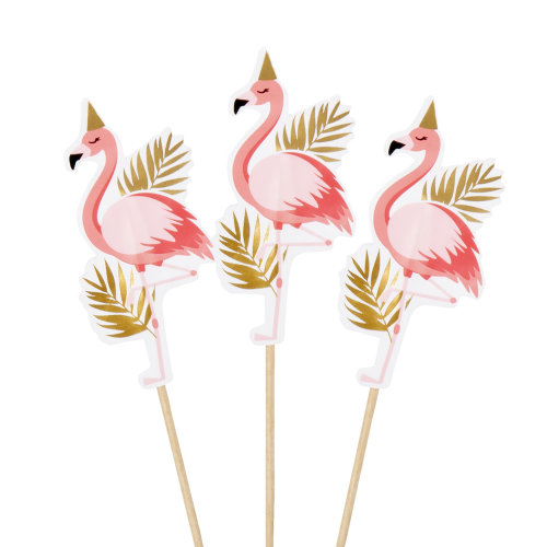 Pack of 12 Flamingo Cocktail Sticks