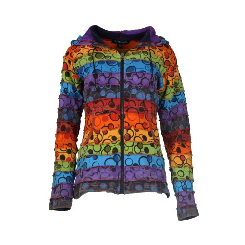 Ladies stonewashed cotton cardigan with colorful bubble print