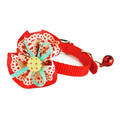 Sunflower Decorated with Little Bell Collar for Cat RED(Fit 17~28cm Neck)