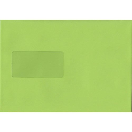 Lime Green Peel/Seal C5/A5 Coloured Green Envelopes. 120gsm Luxury FSC Certified Paper. 162mm x 229mm. Wallet Style Envelope.