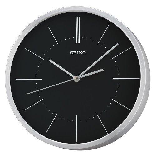 Seiko QXA715A Aluminium Analogue Wall Clock - Silver with Black Dial
