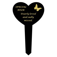 MUM Black Slim Plastic Heart Memorial Grave Marker Stake