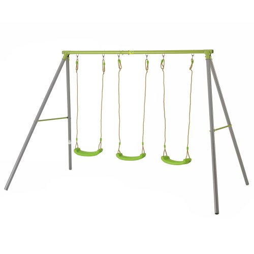 TP Toys Triple Metal Swing Set With 3 Adjustable Lime Green Seats Ages 3 - 12 years